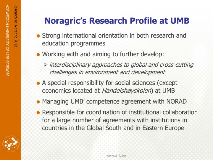 Noragric s research profile at umb