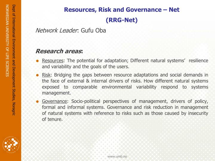 Resources, Risk and Governance – Net