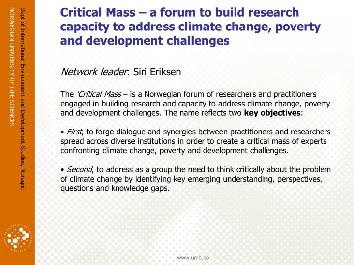 Critical Mass – a forum to build research capacity to address climate change, poverty and development challenges