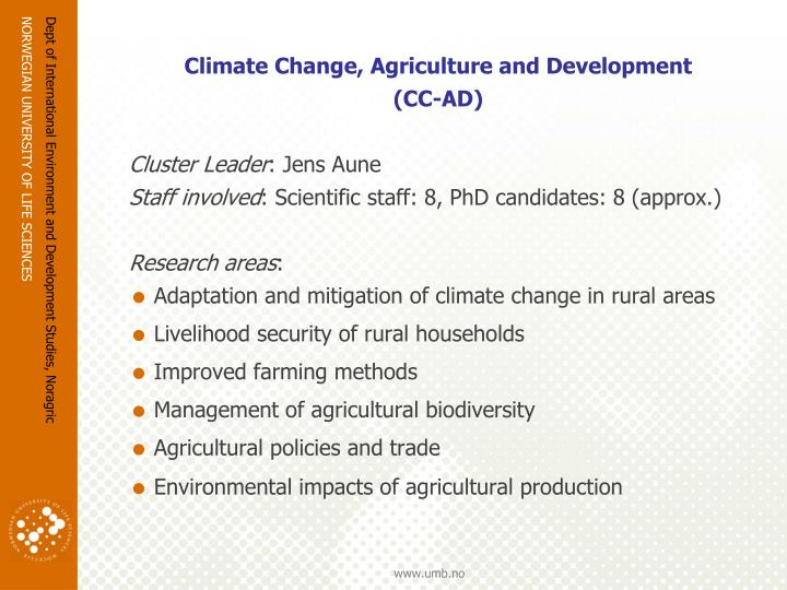 Climate Change, Agriculture and Development