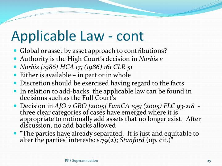 Applicable Law - cont