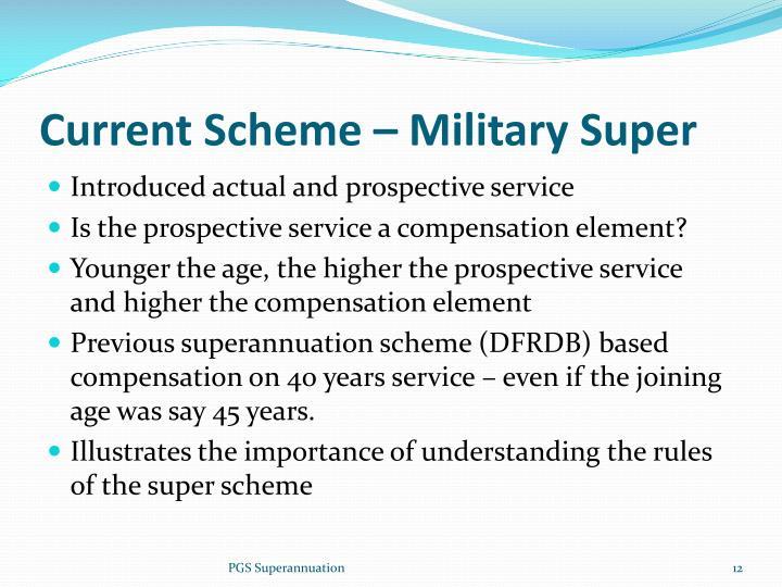 Current Scheme – Military Super