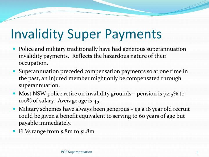 Invalidity Super Payments