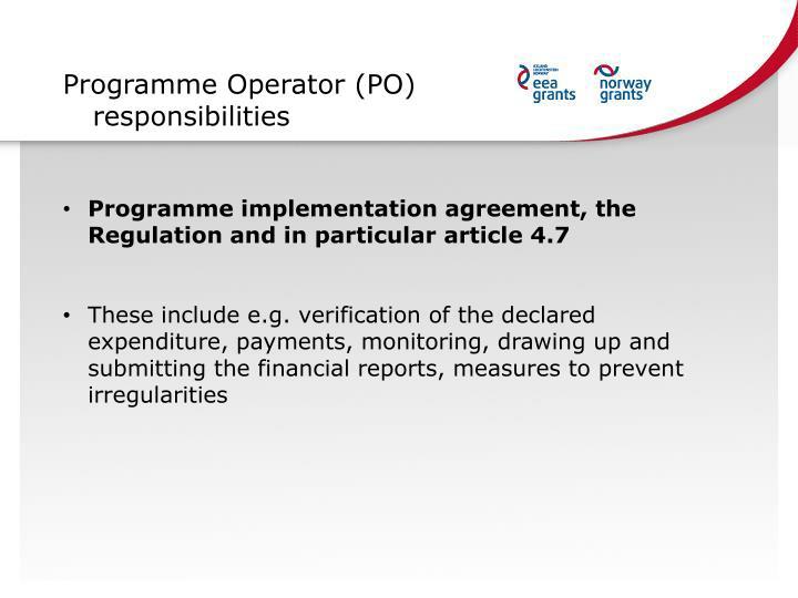 Programme Operator (PO) responsibilities