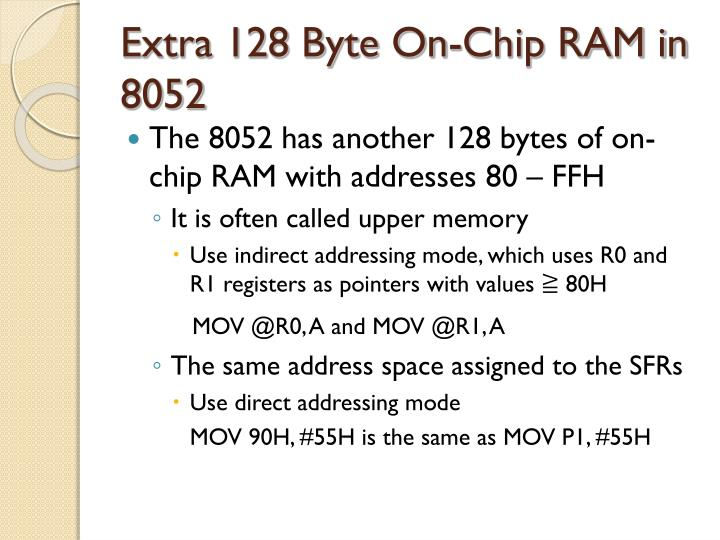 Extra 128 Byte On-Chip RAM in 8052