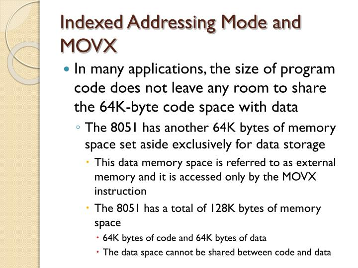 Indexed Addressing Mode and MOVX