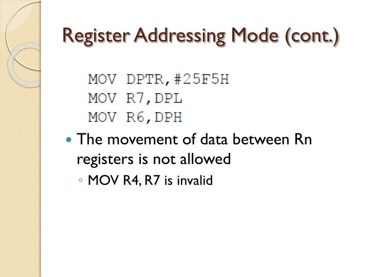 Register Addressing Mode (cont.)