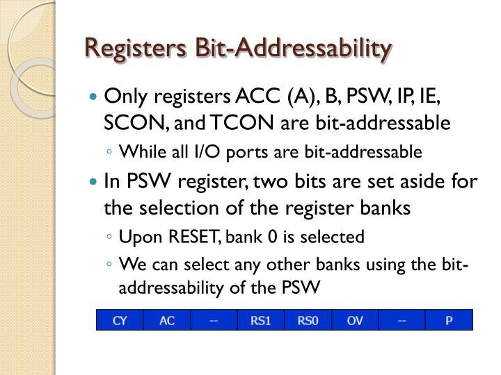 Registers Bit-Addressability