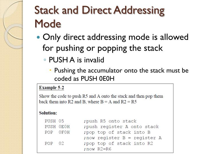Stack and Direct Addressing