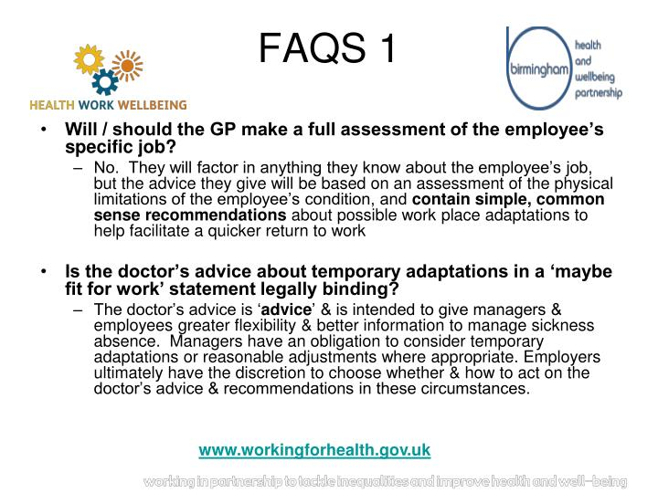 Will / should the GP make a full assessment of the employee's specific job?