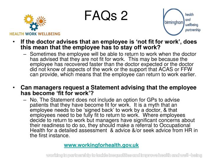 If the doctor advises that an employee is 'not fit
