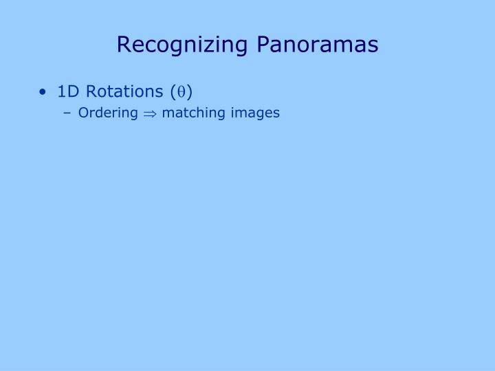 Recognizing Panoramas