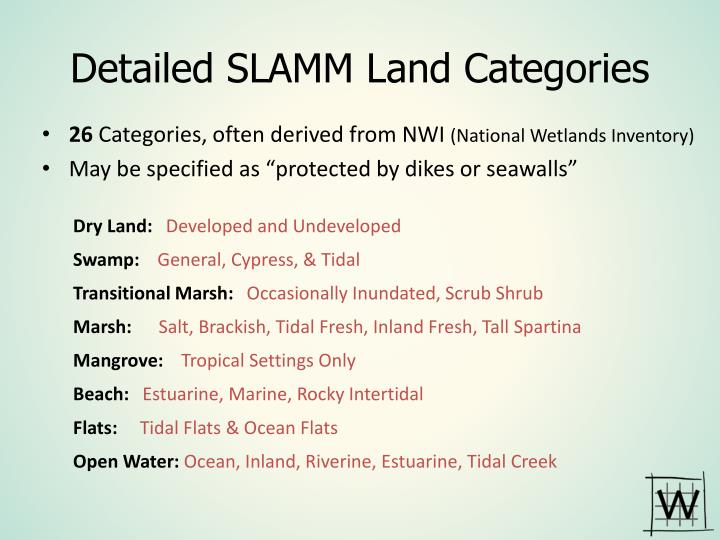Detailed SLAMM Land Categories