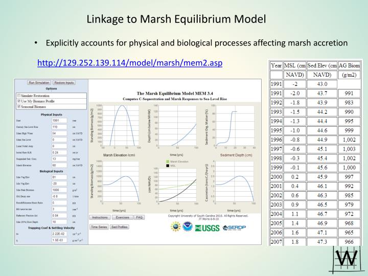 Linkage to Marsh Equilibrium Model