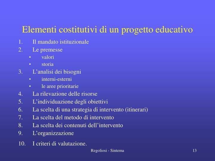 Elementi costitutivi di un progetto educativo