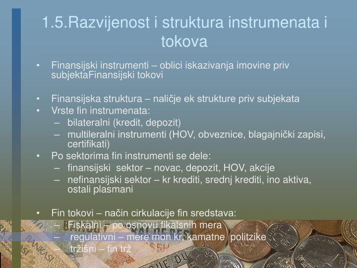 1.5.Razvijenost i struktura instrumenata i tokova