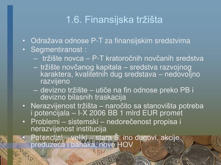 1.6. Finansijska tržišta