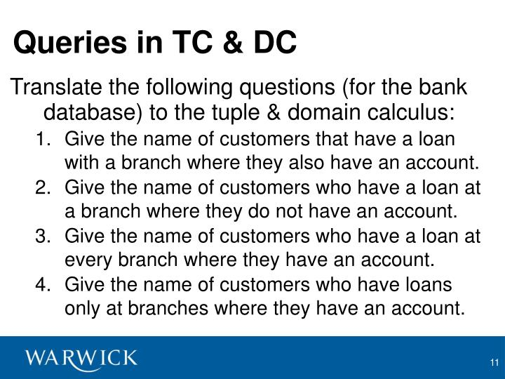 Queries in TC & DC