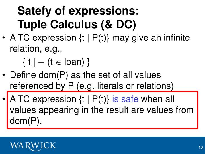 Satefy of expressions: