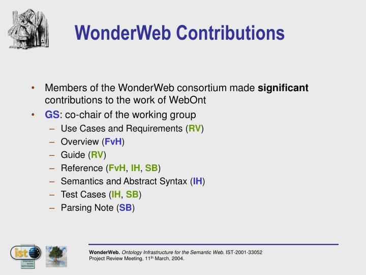 WonderWeb Contributions