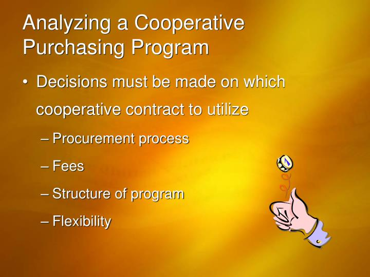 Analyzing a Cooperative Purchasing Program