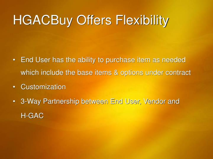 HGACBuy Offers Flexibility