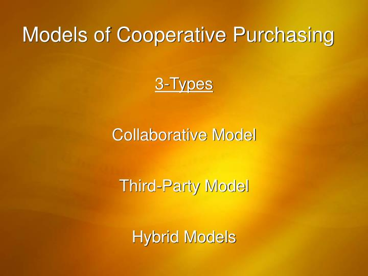 Models of Cooperative Purchasing