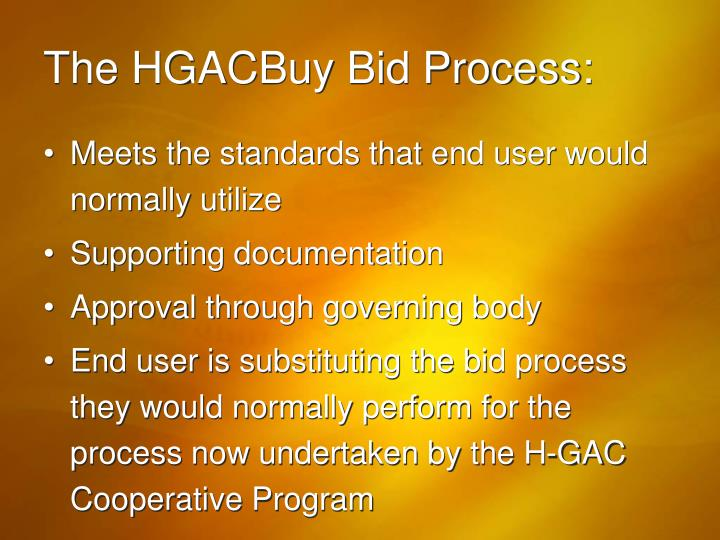 The HGACBuy Bid Process: