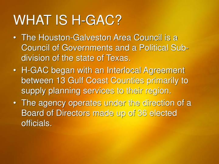 WHAT IS H-GAC?