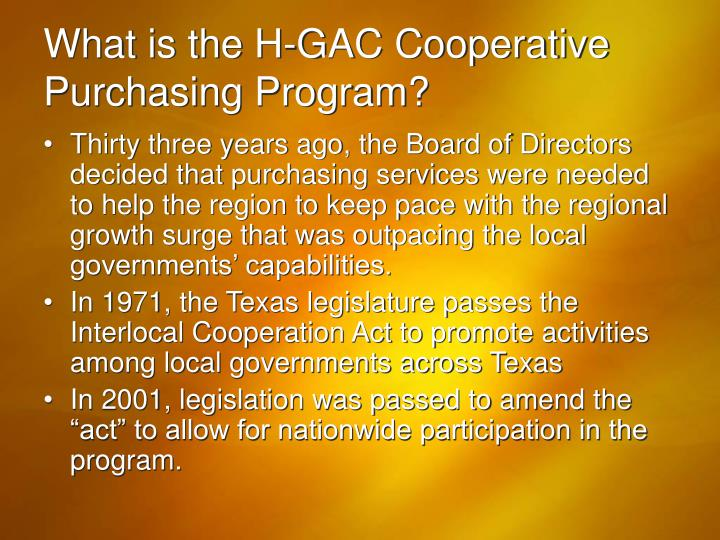 What is the H-GAC Cooperative Purchasing Program?