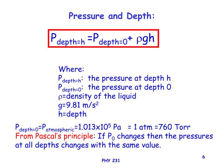 Pressure and Depth: