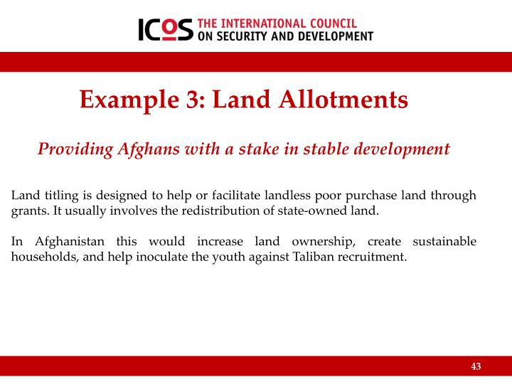 Example 3: Land Allotments