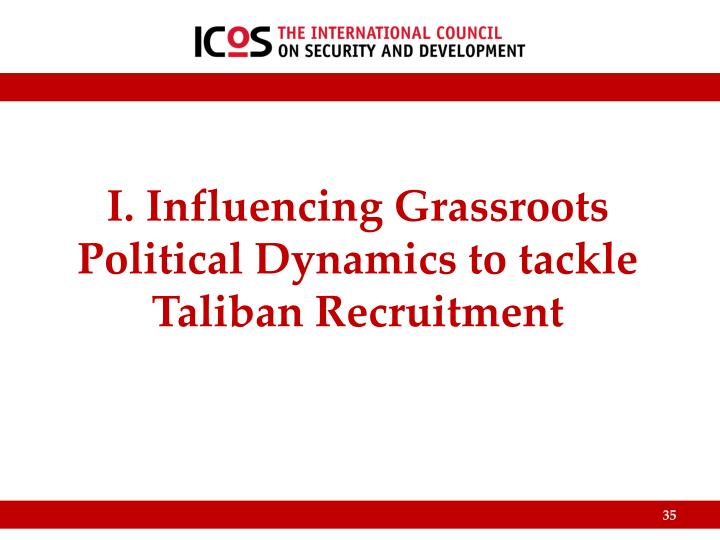 I. Influencing Grassroots Political Dynamics to tackle Taliban Recruitment