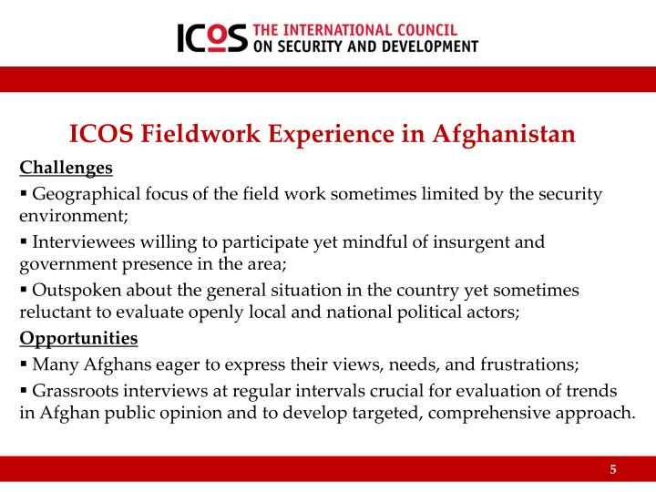 ICOS Fieldwork Experience in Afghanistan