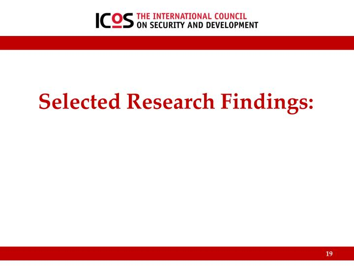 Selected Research Findings: