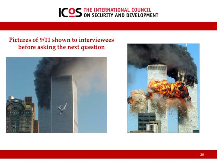 Pictures of 9/11 shown to interviewees before asking the next question