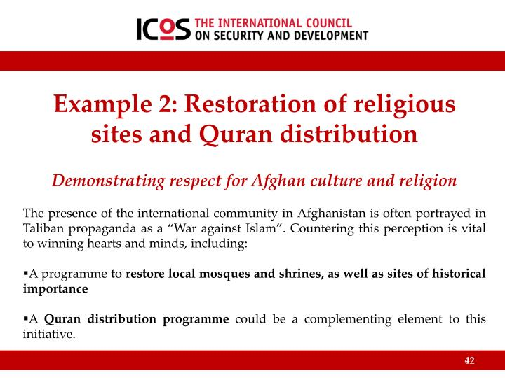 Example 2: Restoration of religious sites and Quran distribution