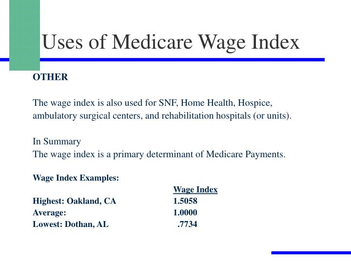 Uses of Medicare Wage Index