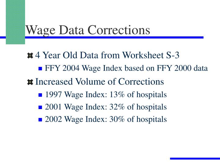Wage Data Corrections