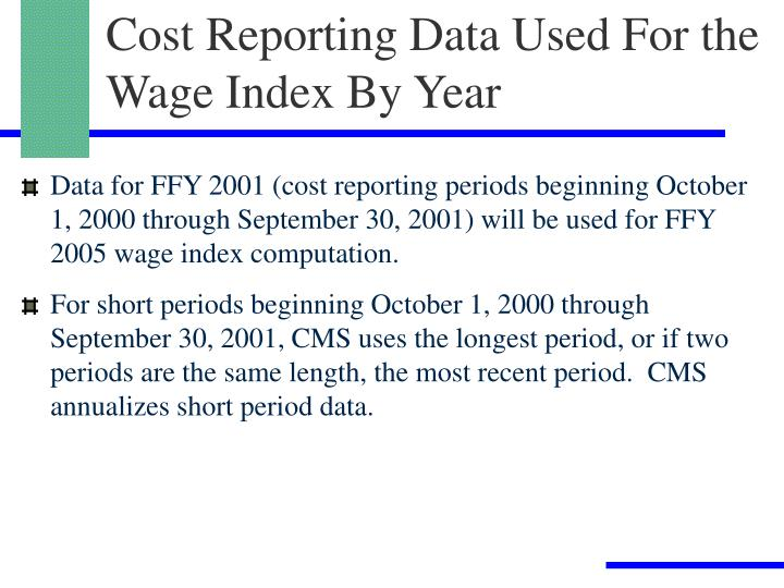 Cost Reporting Data Used For the Wage Index By Year