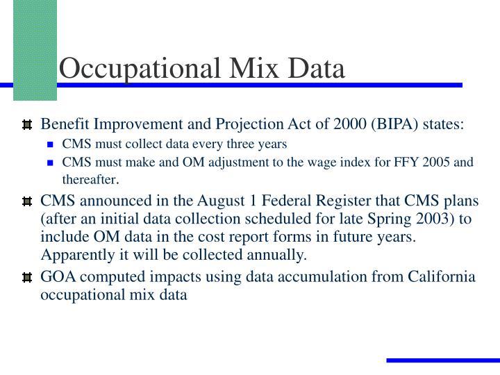 Occupational Mix Data