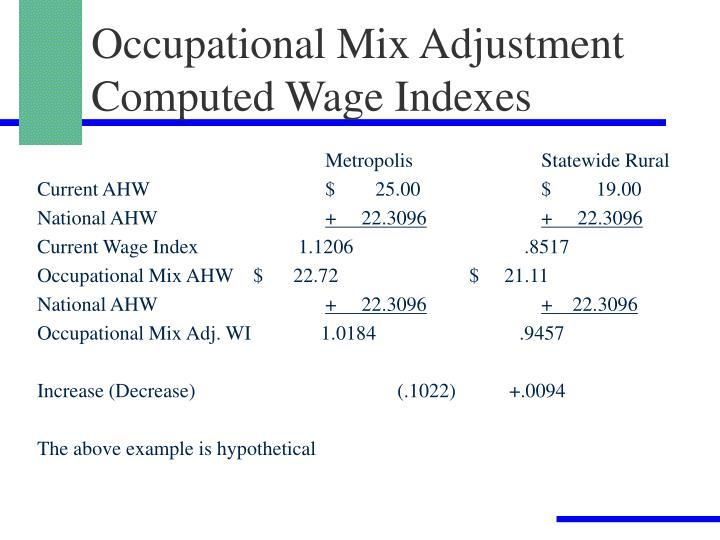 Occupational Mix Adjustment