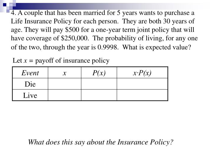 4. A couple that has been married for 5 years wants to purchase a Life Insurance Policy for each person.  They are both 30 years of age. They will pay $500 for a one-year term joint policy that will have coverage of $250,000.  The probability of living, for any one of the two, through the year is 0.9998.  What is expected value?