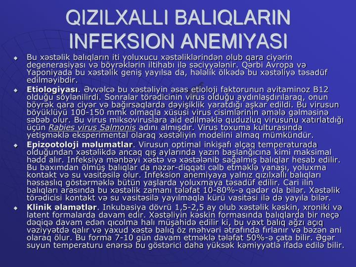 QIZILXALLI BALIQLARIN INFEKSION ANEMI