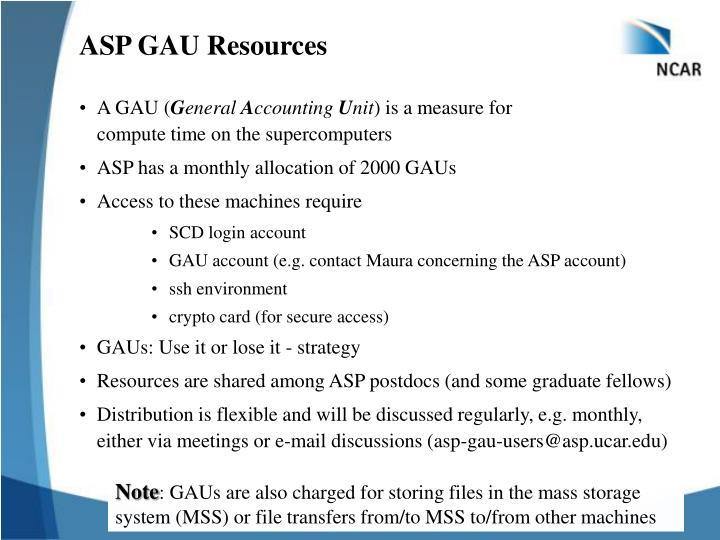 ASP GAU Resources