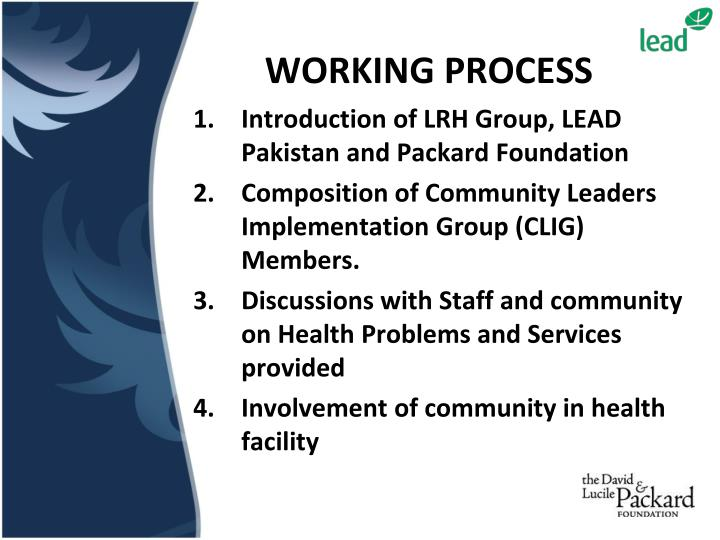 Introduction of LRH Group, LEAD Pakistan and Packard Foundation