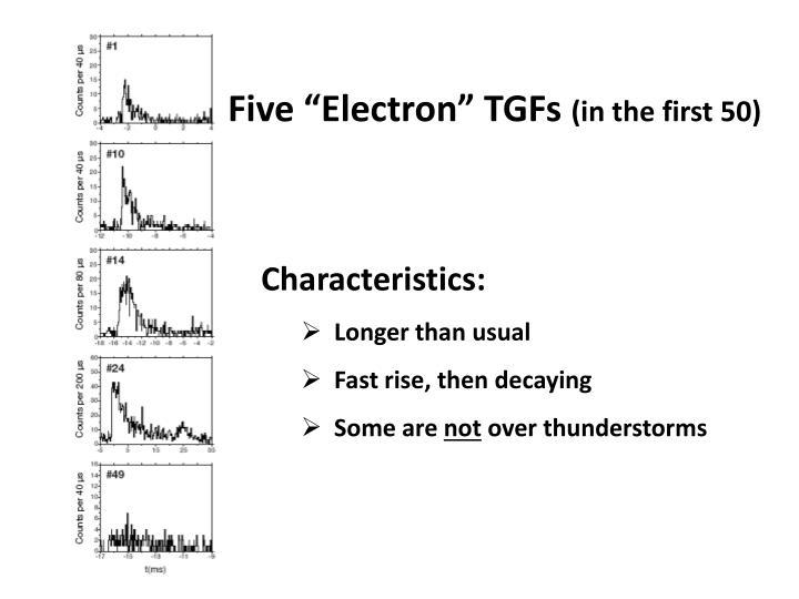 """Five """"Electron"""" TGFs"""
