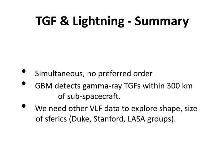 TGF & Lightning - Summary
