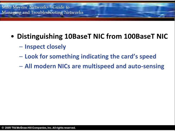 Distinguishing 10BaseT NIC from 100BaseT NIC