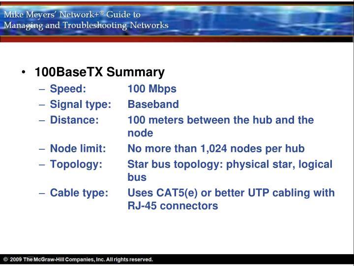100BaseTX Summary